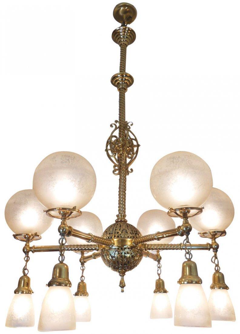 Lighting, hanging fixture, polished brass 6-arm fixture