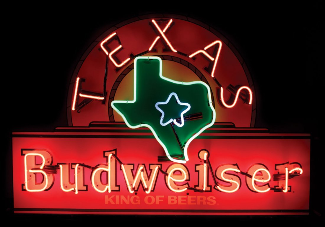 Breweriana neon sign, Budweiser Texas,  multi-color