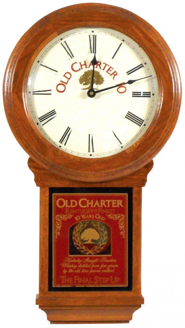 Advertising clock, Old Charter 10 Bourbon Whiskey,