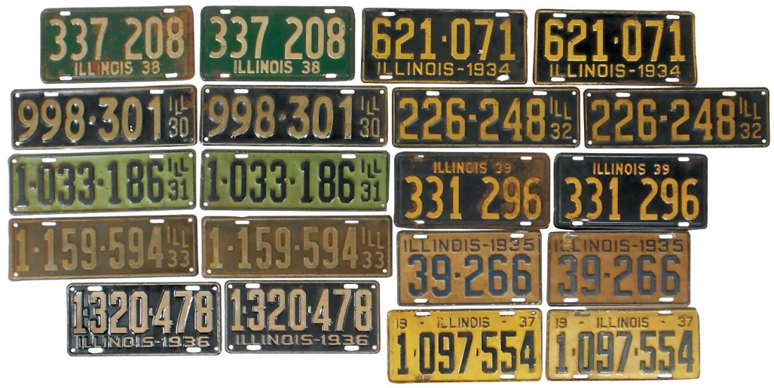License plates (10 pr), Illinois 1930-1939, Good-VG