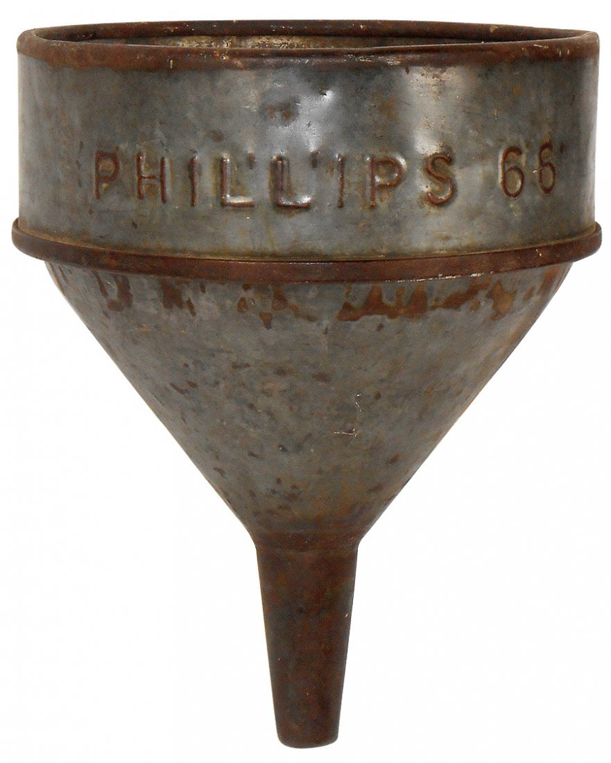 Petroliana, Phillips 66 funnel, embossed galvanized