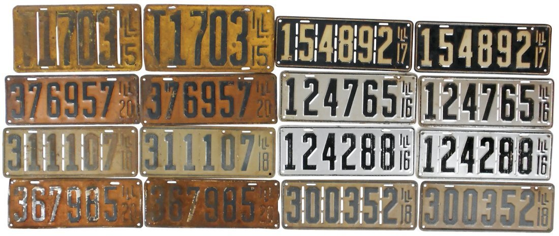 License plates (11 pr), all Illinois from 1915-1920,
