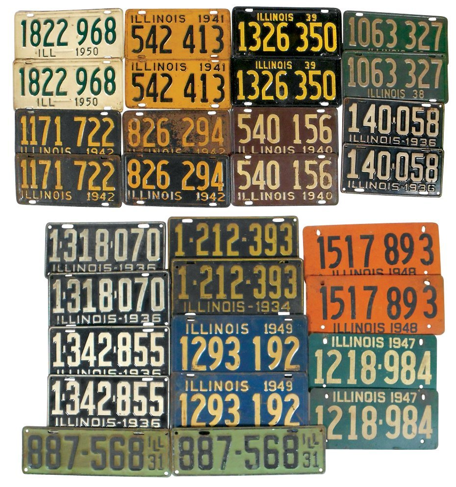 License plates (15 pr), Illinois 1931, 34, 36(3),