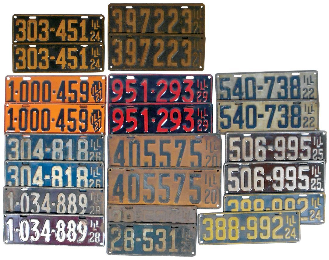 License plates (11 pr), Illinois 1920-1929, Good-Exc