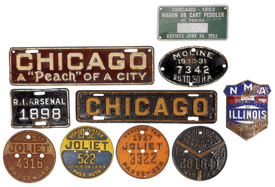 Automotive (10), 6 city license plates, 2 Chicago