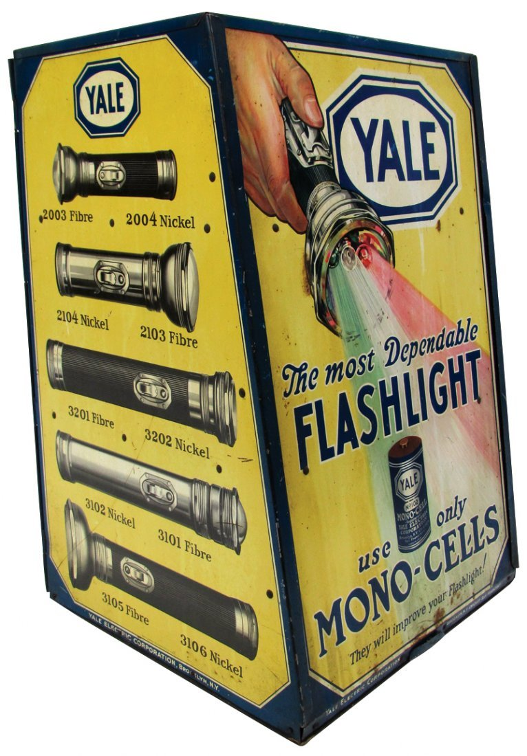 Advertising display cabinet, Yale Flashlight Mono-Cell,