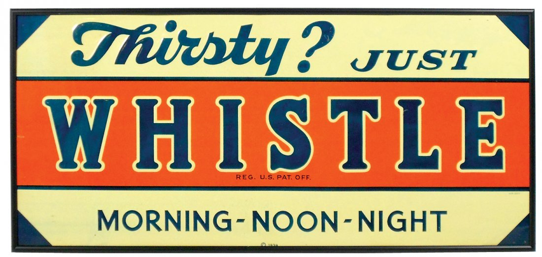 "Soda fountain sign, ""Thirsty? Just Whistle,"" c.1939,"
