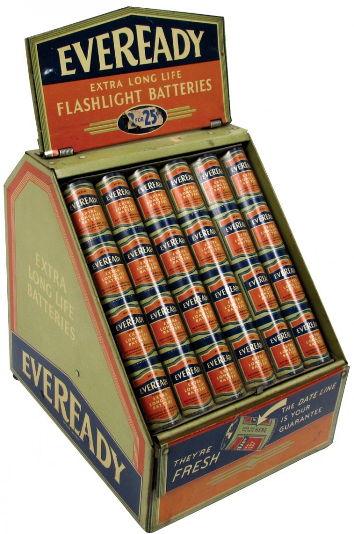 Country store counter display, Eveready Flashlight