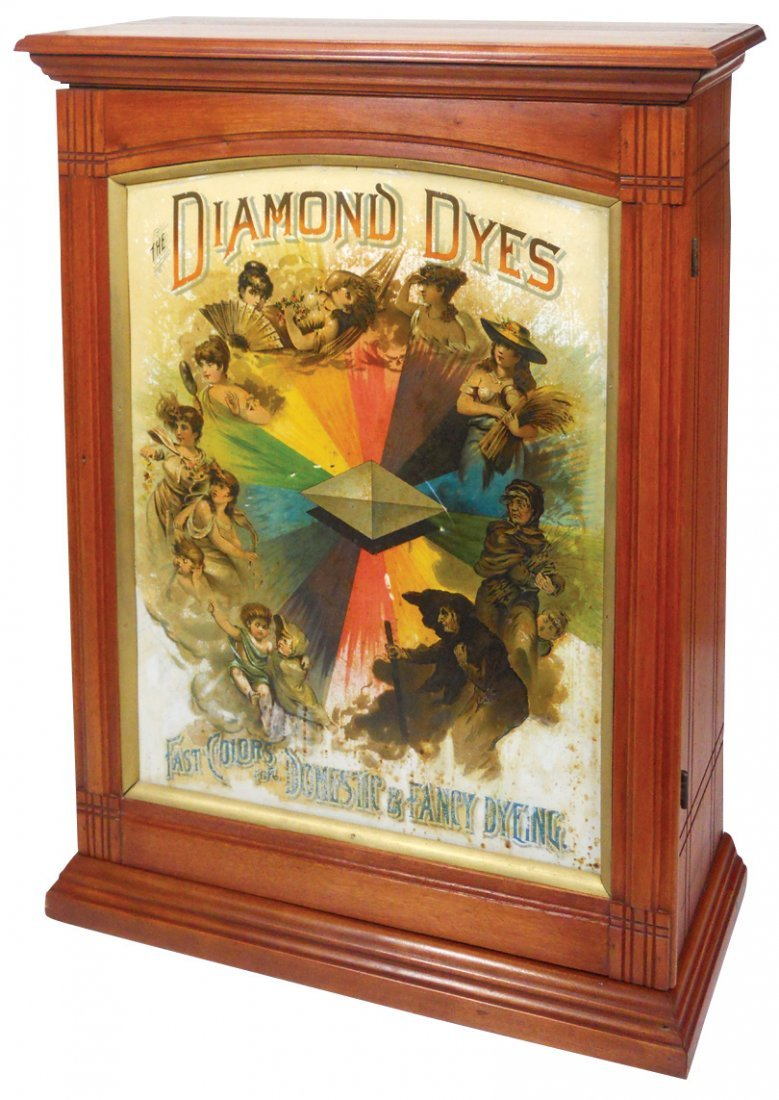 "Country store Diamond Dyes cabinet, ""Evolution of"