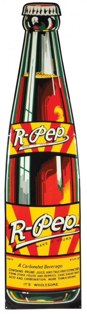 "Soda fountain diecut bottle, ""R-Pep-Make it Yours,"""