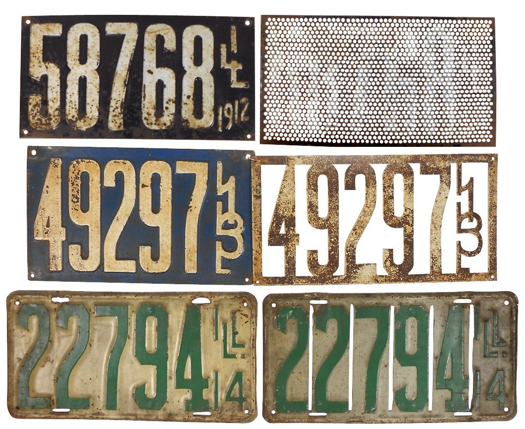 License plates (3 pr), Illinois 1912-1914, Good cond