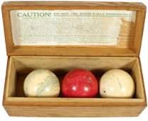 Billiard carom balls & box, dovetailed wood box