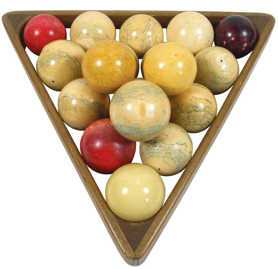 Billiard balls & triangle, 18 ivory carom balls, sized