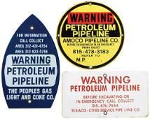 Advertising signs 3 Warning Petroleum Pipeline