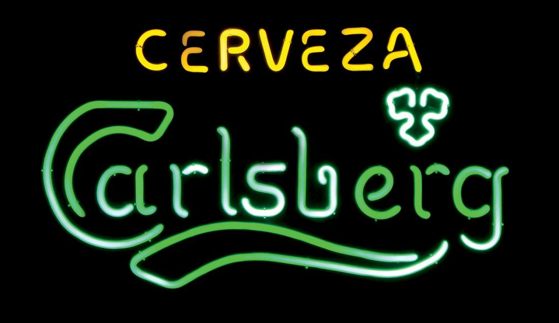 "Breweriana neon sign, ""Cerveza Carlsberg,"" NOS cond,"