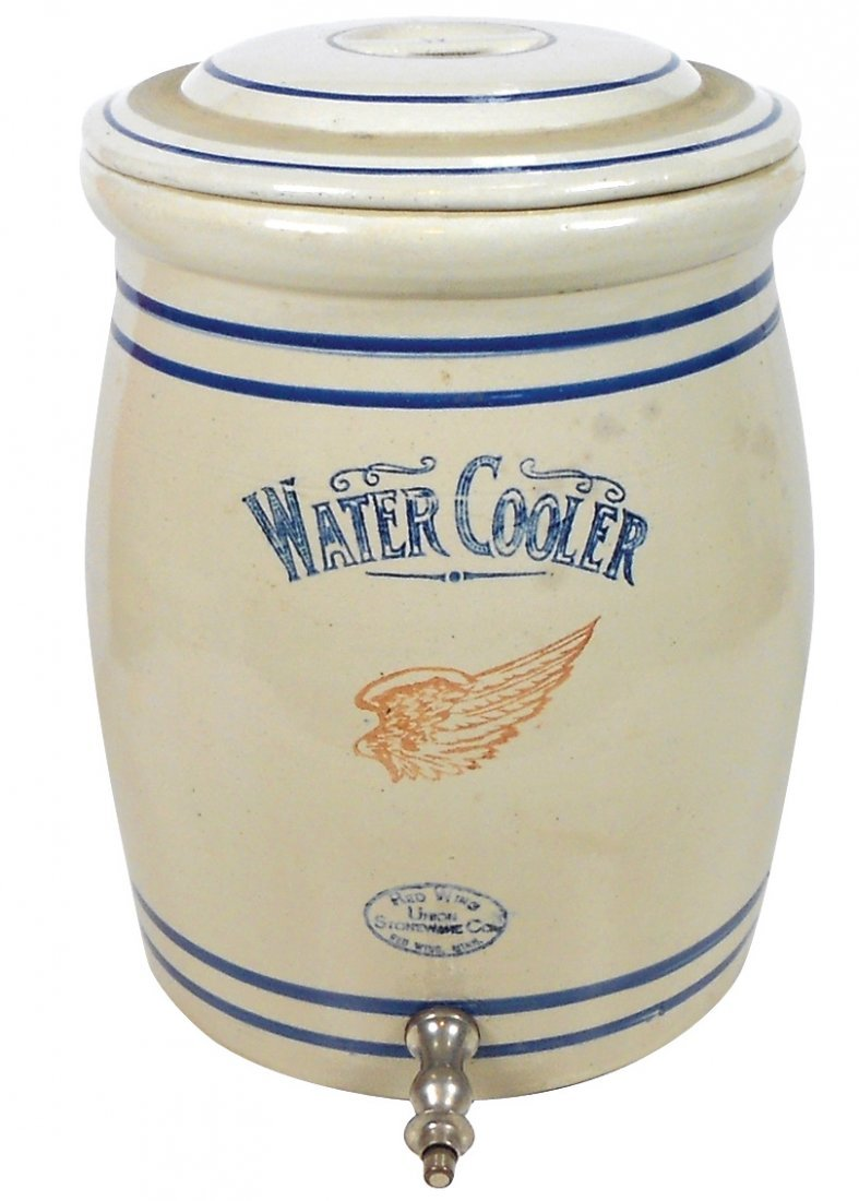 Stoneware, Red Wing water cooler, 5 gal w/bar handle