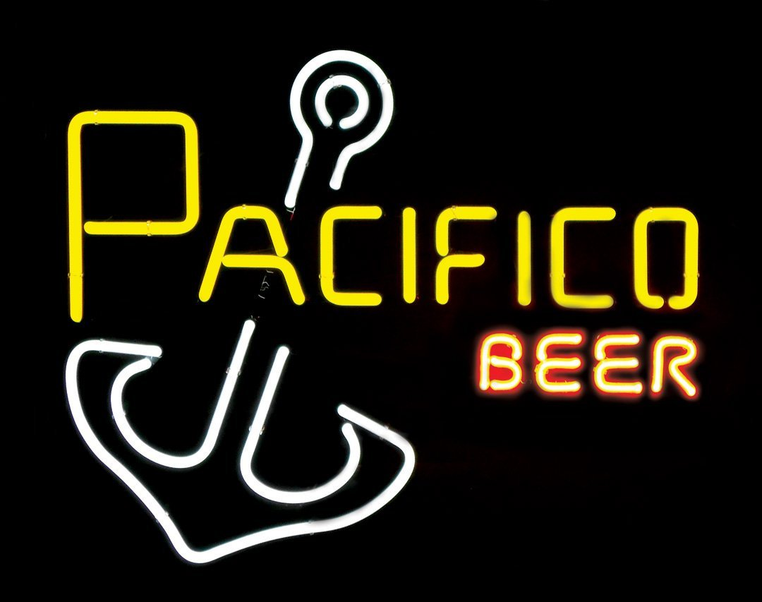 "Breweriana neon sign, ""Pacifico Beer,"" NOS cond, 21""H x"