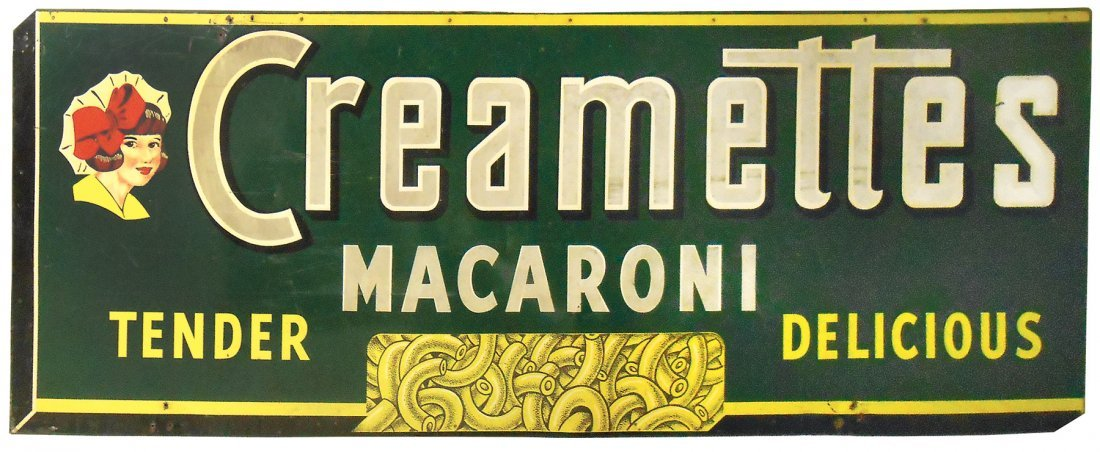 Advertising sign, Creamettes Macaroni, large colorful