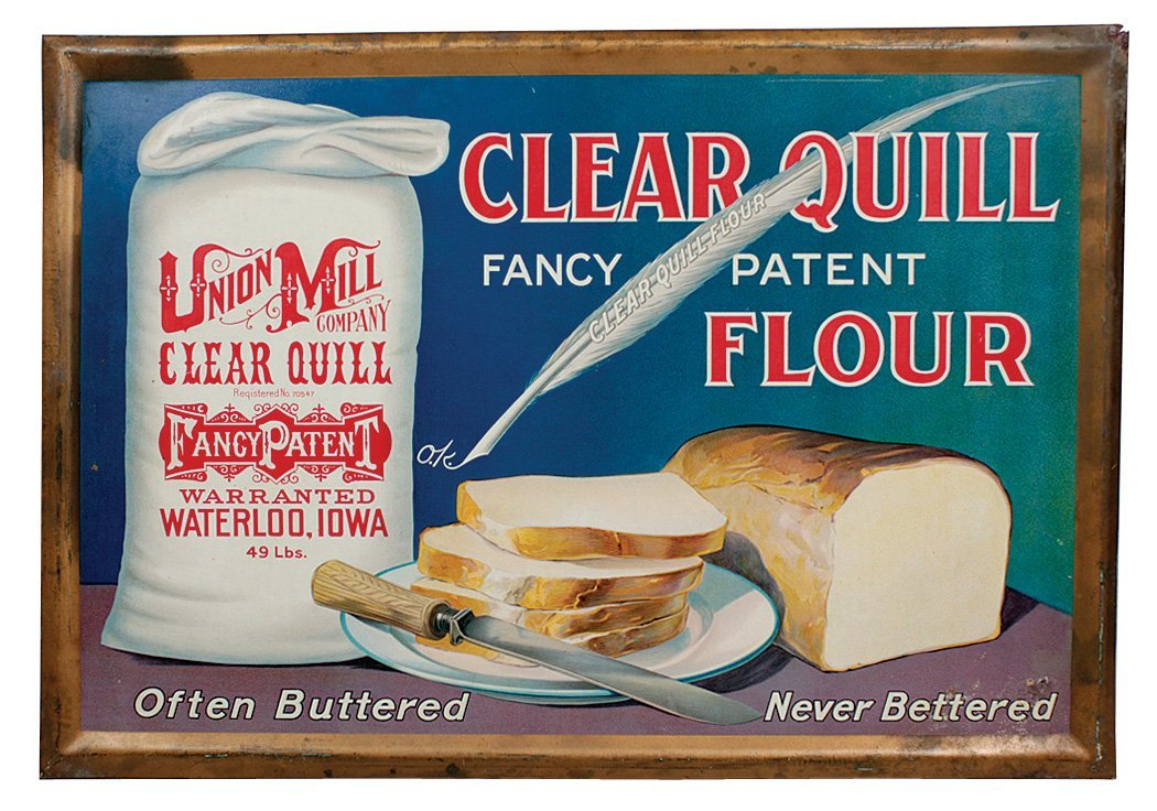 Advertising sign, Clear Quill Flour from Union Mill