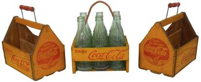 Coca-Cola bottle carriers (3), all are wood, one w/rope