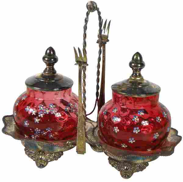 Victorian condiment set, Forbes silver-plated holder &