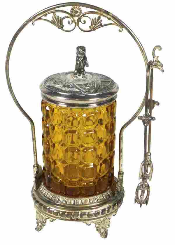 Victorian pickle castor, amber glass block pattern