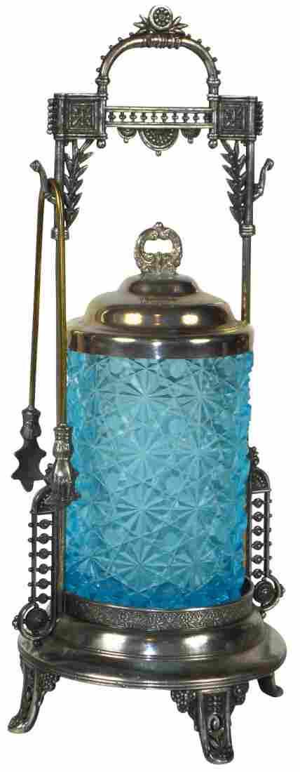 Victorian pickle castor, blue button & daisy glass