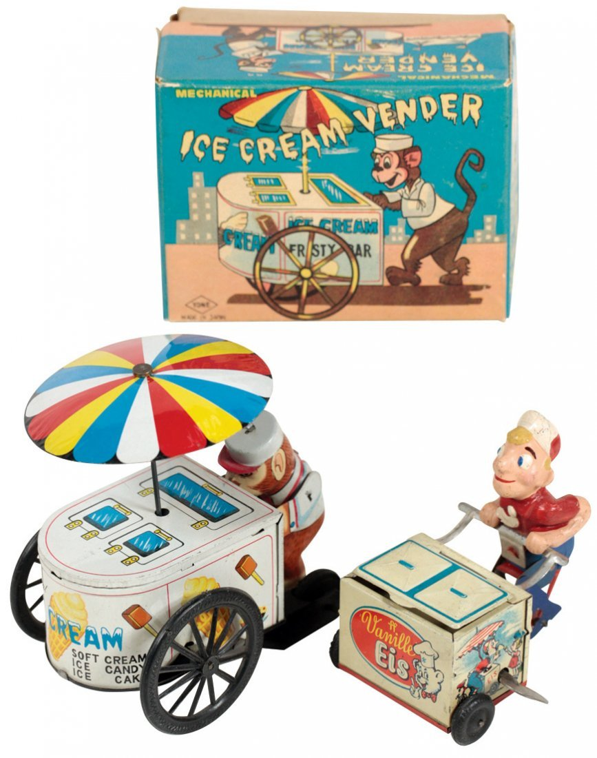 Toy ice cream vendors (2), Yonezawa tin wind-up monkey