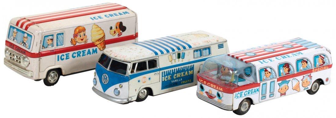 Toy ice cream vendor trucks (3), Japanese tin friction