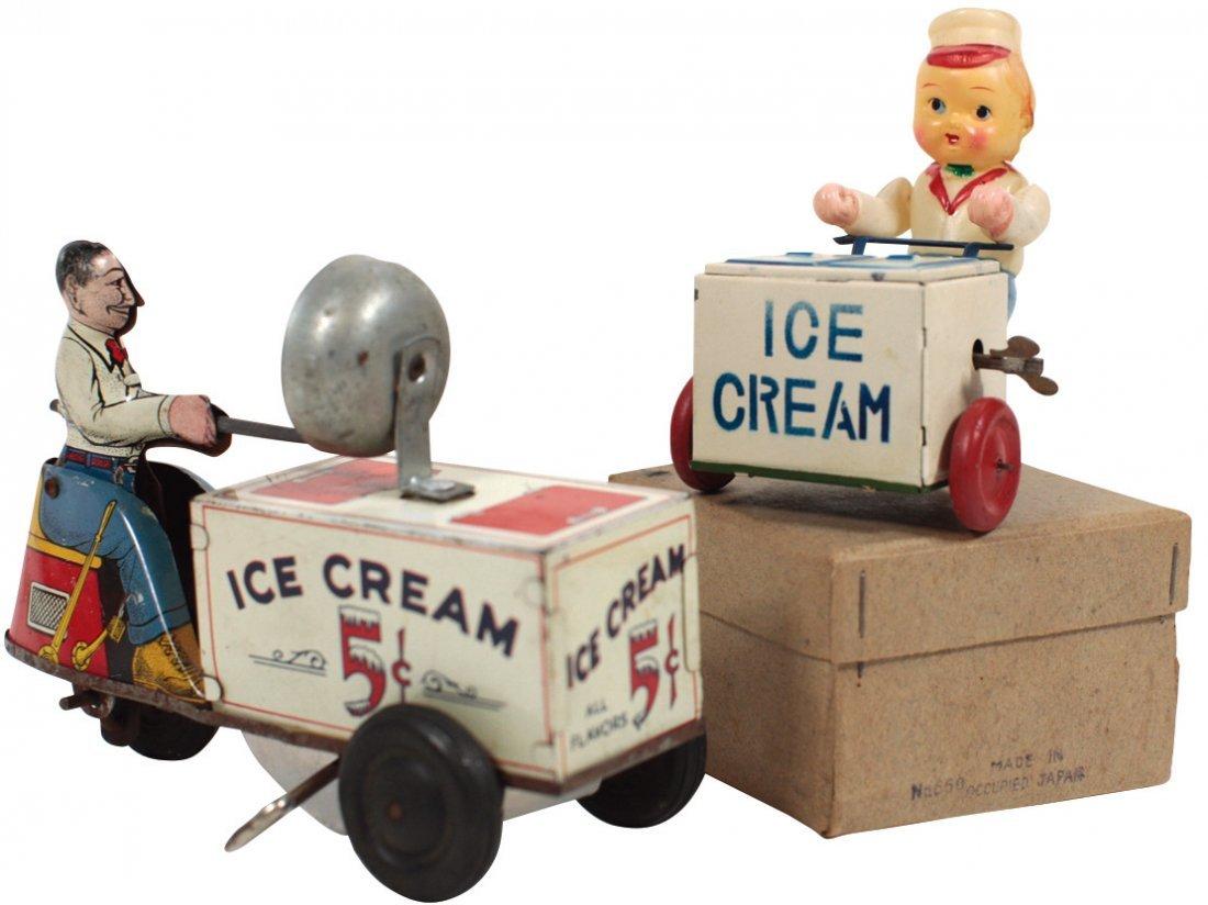 Toy ice cream vendors (2), Courtland tin windup scooter