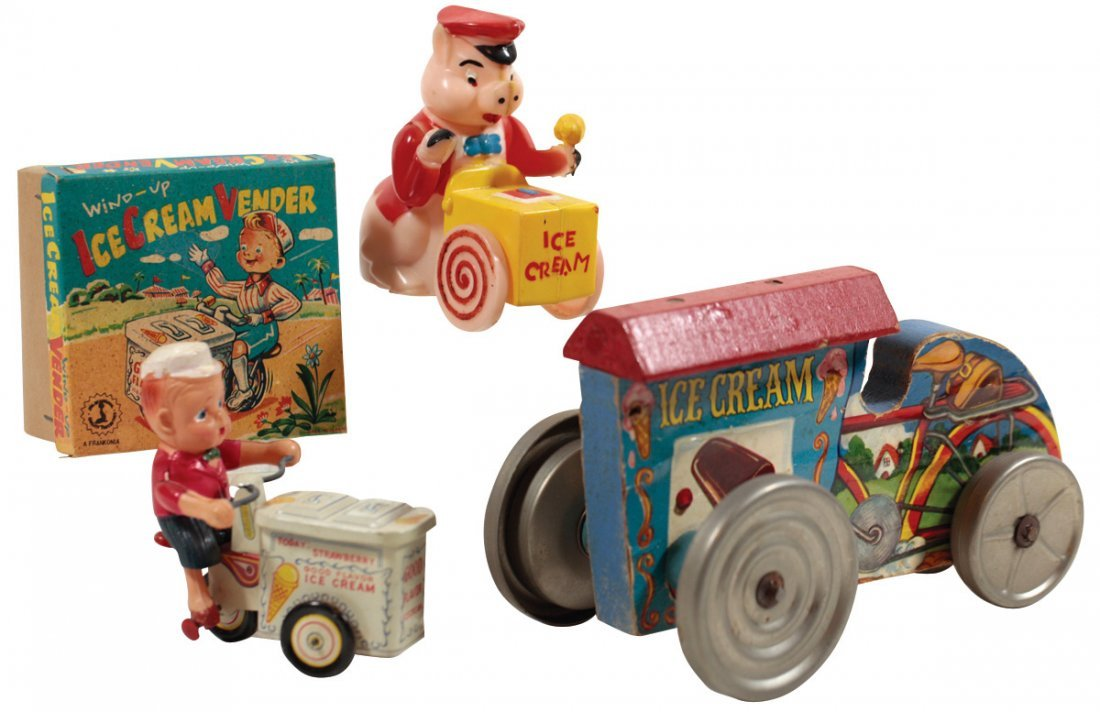 Toy ice cream vendors (3), Gong Bell wooden pull-toy