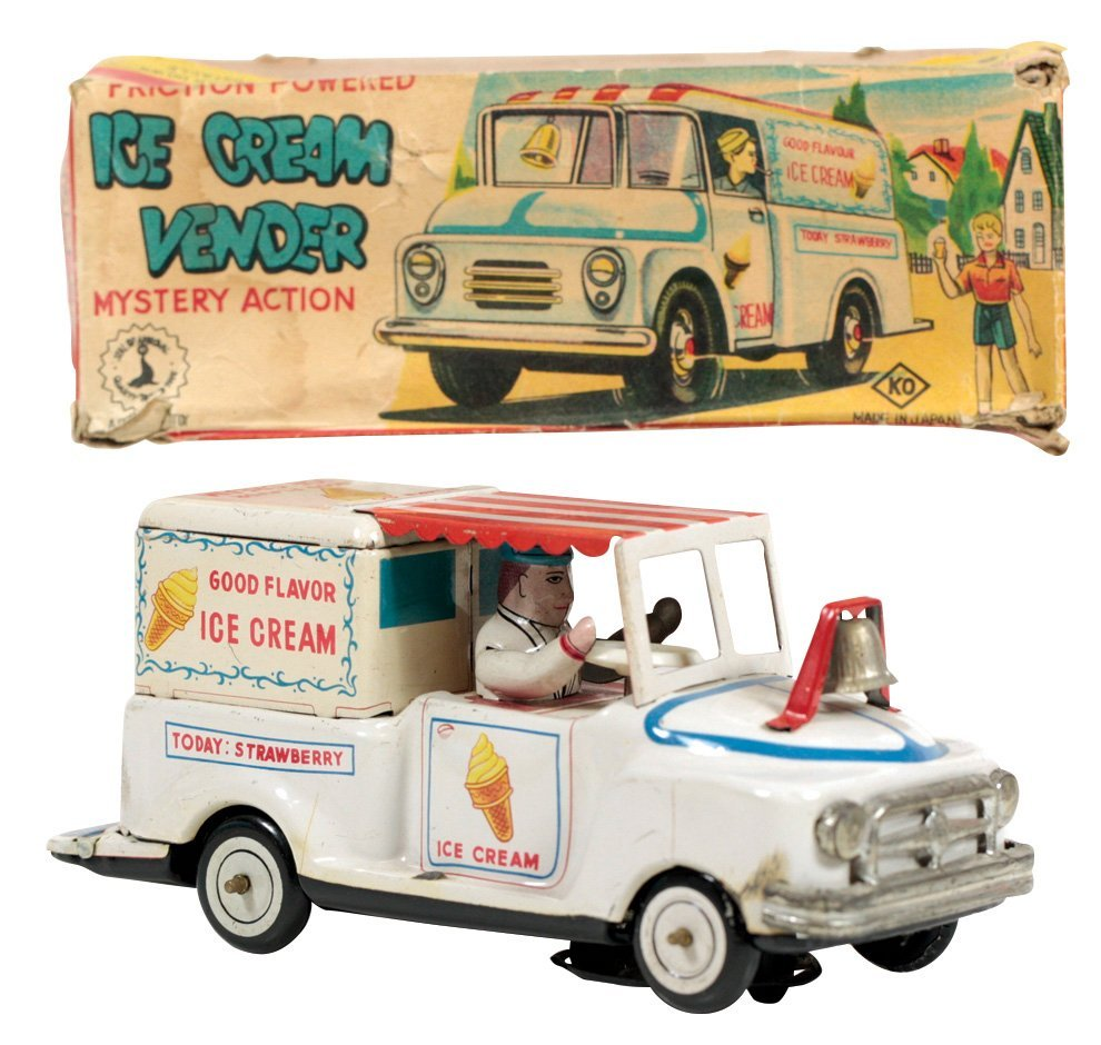 Toy Ice Cream Vendor Truck w/orig box, litho on tin