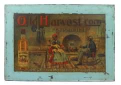 Black Americana sign, Old Harvest Whiskey litho on