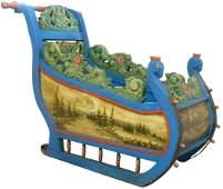 Furniture, folk art Dutch or Flemish sleigh, painted