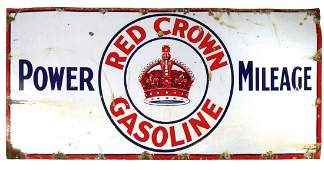 Petroliana, Red Crown Gasoline Power Mileage porcelain