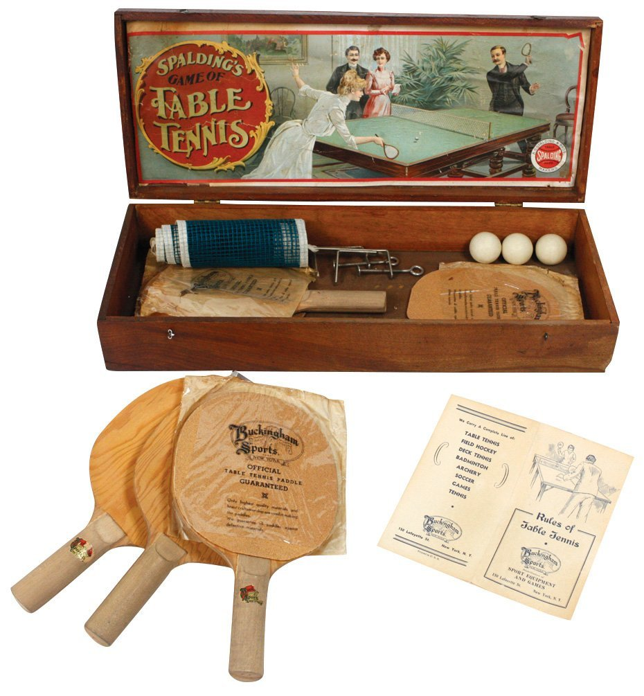 Games (3), early Spalding Table Tennis, wood box - 2
