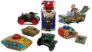 Toys military 8 2 tin windup tanks 2 tin friction