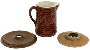 Stoneware lids & pitcher (3), 3 or 4 gal churn lid, VG
