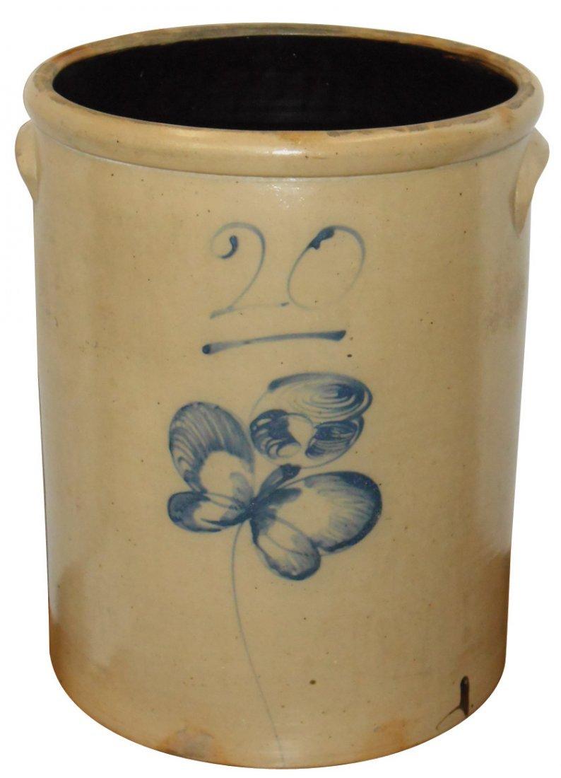 Stoneware crock, salt glaze 20 gal Butterfly, back