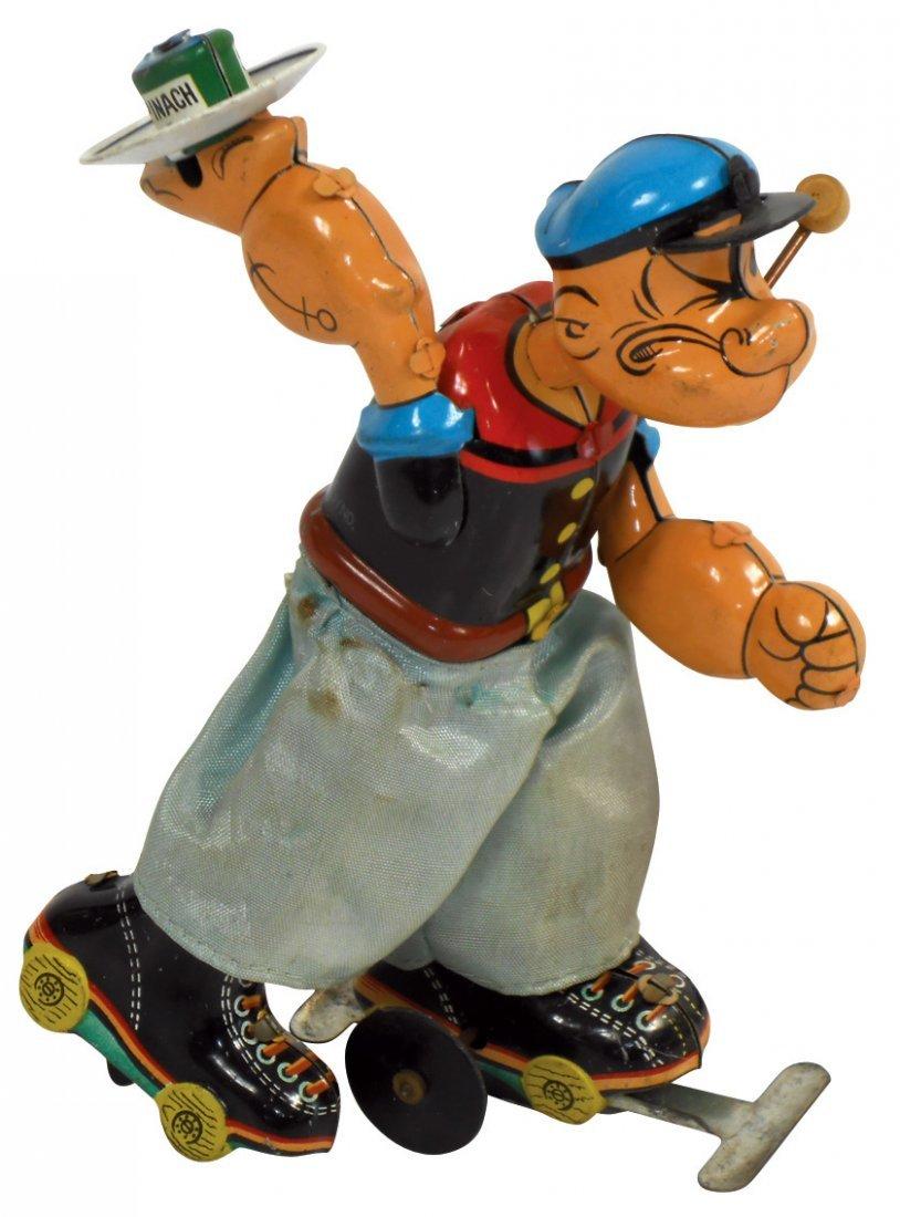 Toy, Popeye roller skating, Linemar tin windup, Exc