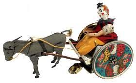 Toy Lehmann Stubborn Donkey, German tin windup, VG/Exc