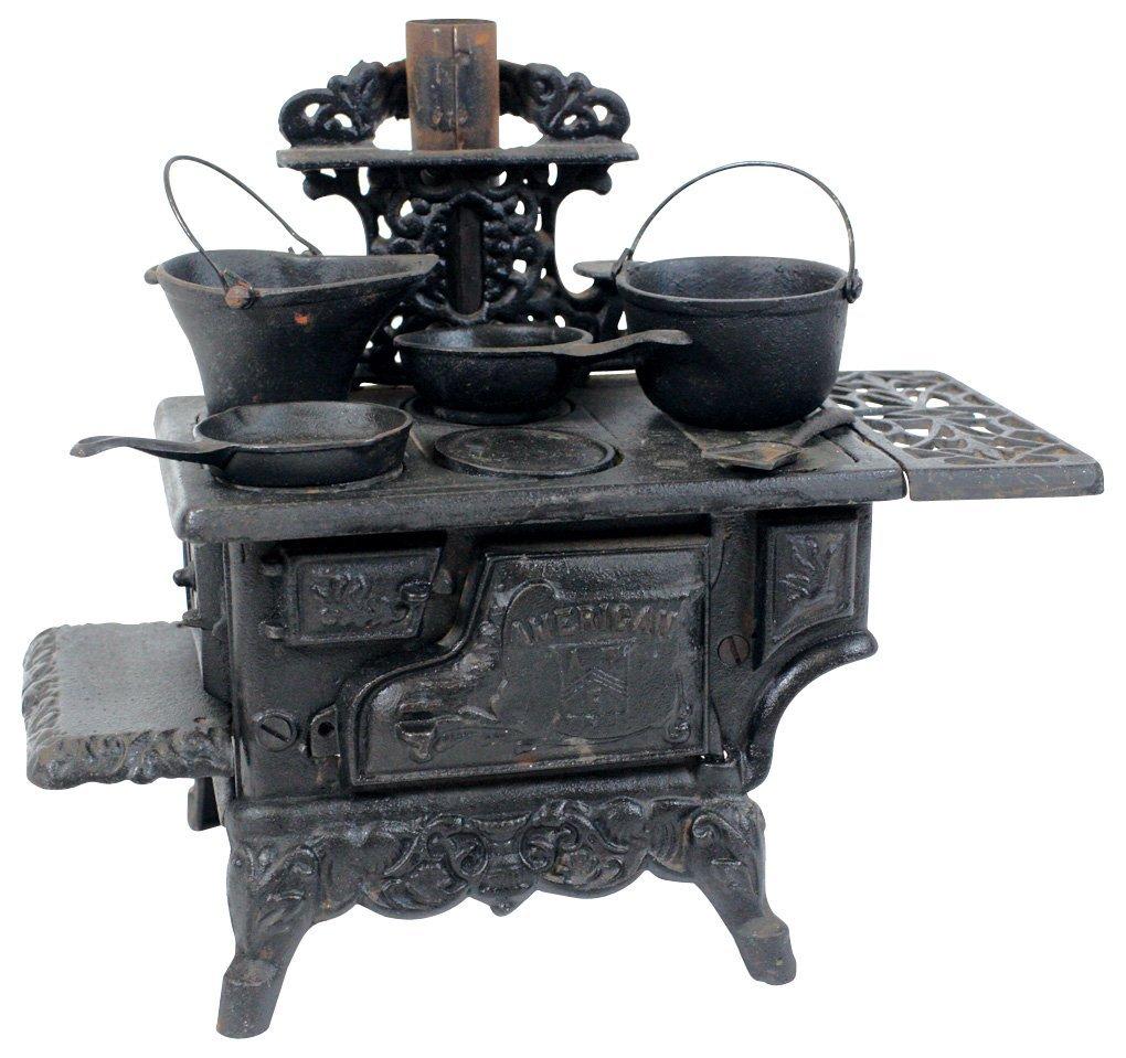 Toy stove, American, cast iron 4-burner w/black paint,