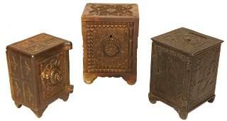 Banks (3), cast iron still banks, Treasure Safe Bank,