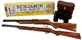 Toy guns & binoculars (3), 2 Benjamin air rifles, one