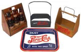 Soda fountain items (4), wood Pepsi-Cola 6-pack