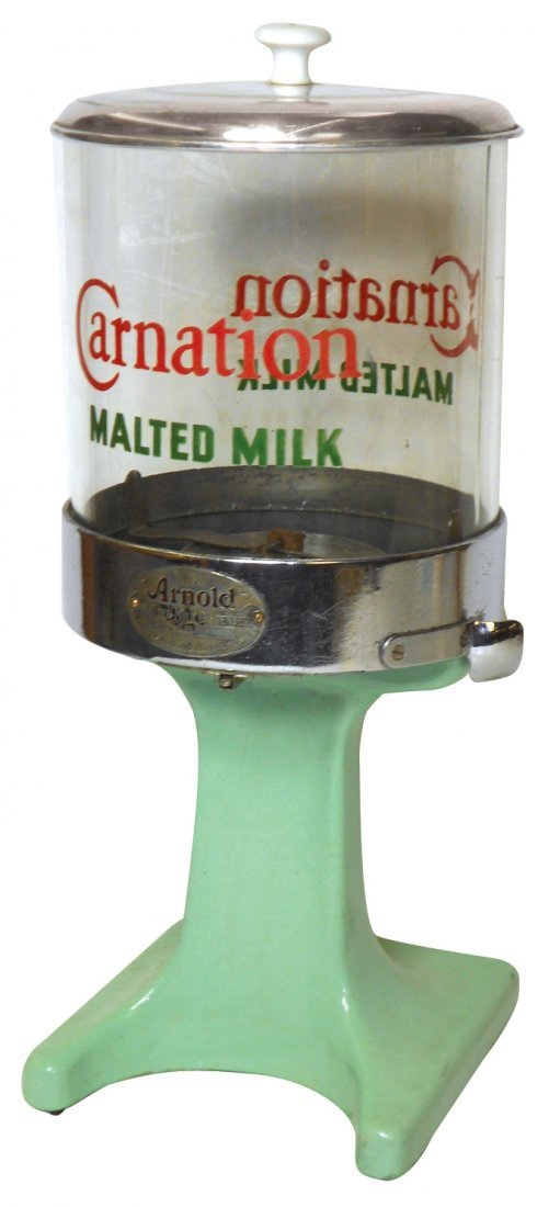 Soda fountain dispenser, Carnation Malt Powder, mfgd by