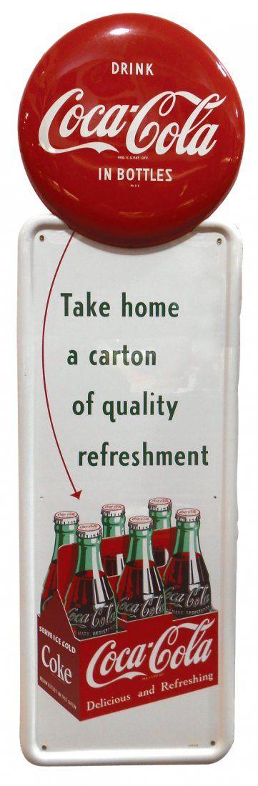 "Coca-Cola sign, red button & carton graphic, ""Take Home"