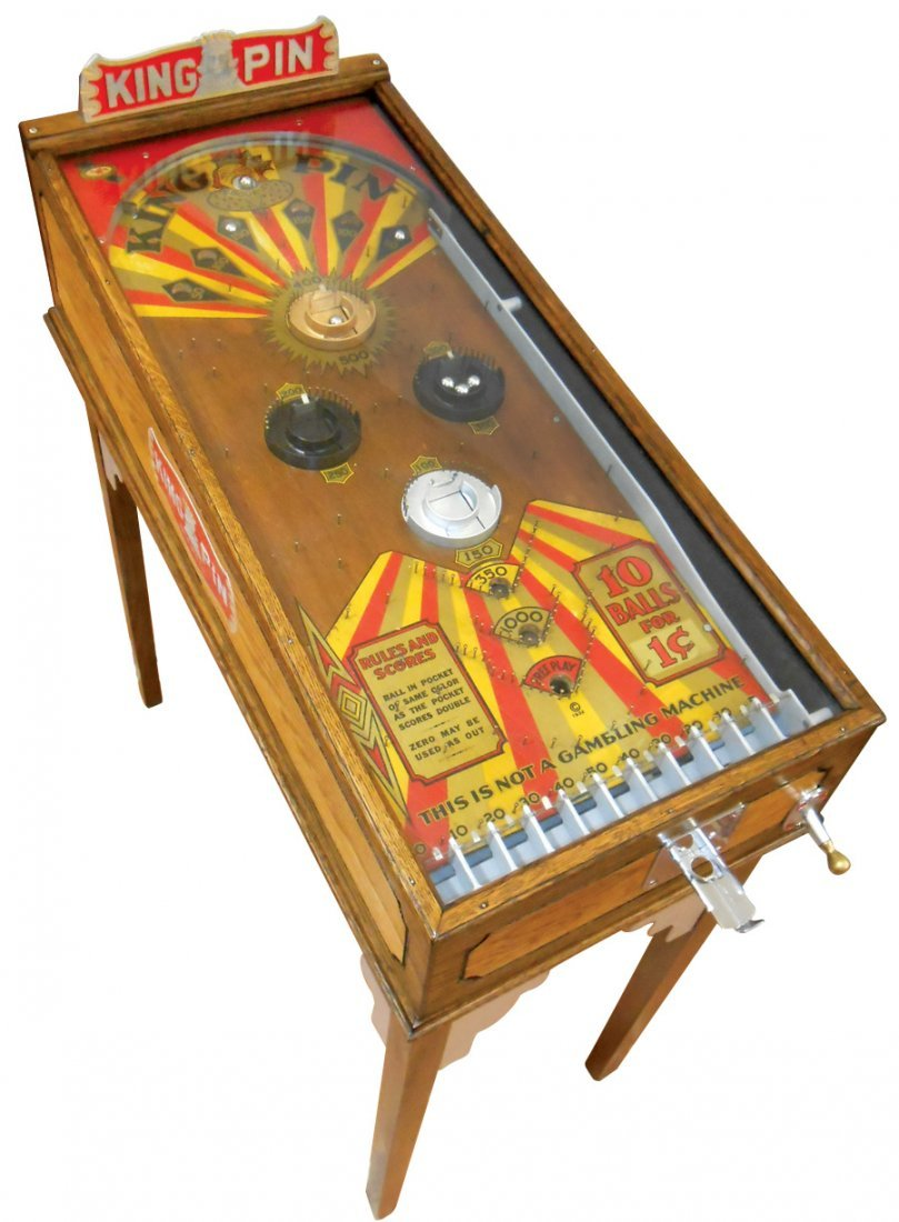 Coin-operated pinball machine, King Pin, mfgd by Pace