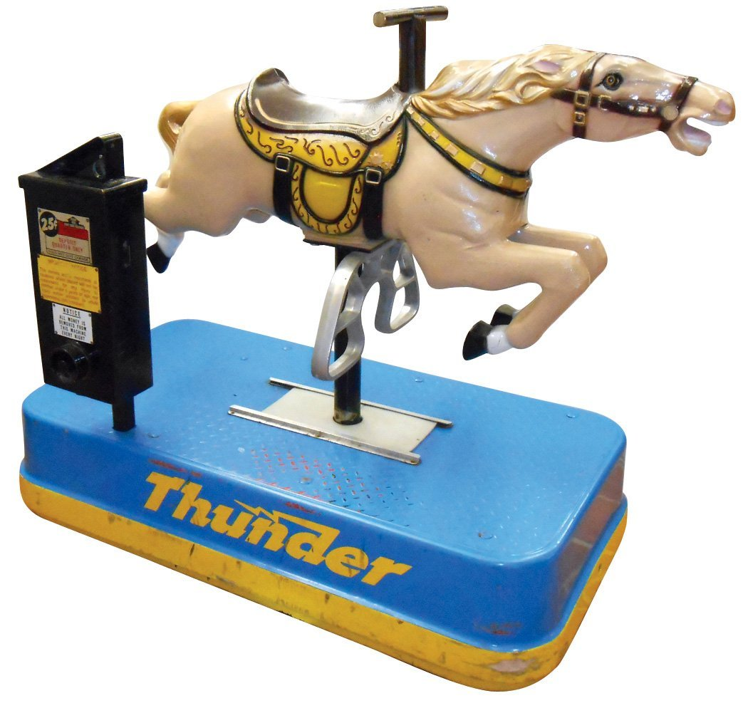 """Coin-operated riding horse, """"Thunder"""", 25 Cents, mfgd"""