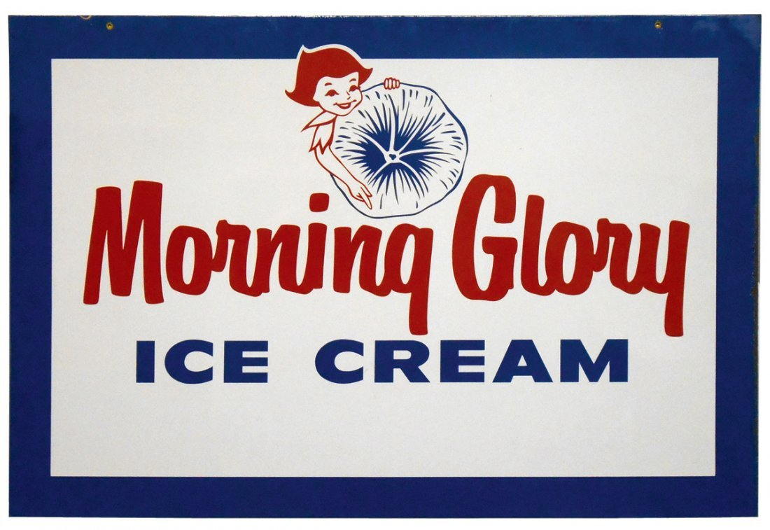 Soda fountain sign, Morning Glory Ice Cream, 2-sided